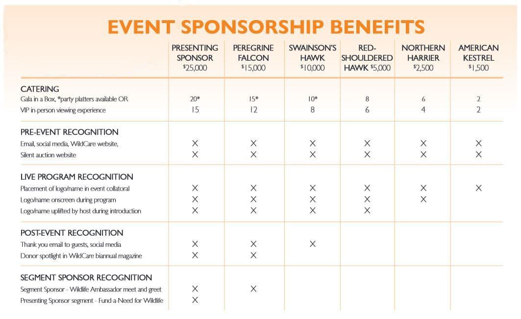 Sponsorship Benefits Chart